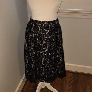 J. Crew Lace Midi Skirt with Scalloped Hem